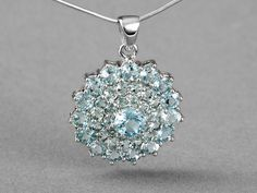 11.38ctw Round Glacier Topaz™ Sterling Silver Pendant With Snake Chain