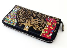 "Portafogli dipinto a mano -hand painted wallet - ""The Tree of Life"" by Klimt- ""L'Albero della vita"" di klimt- www.artelisanti.com   #ArteLisanti #MadeinItaly #GenuineLeather #VeraPelle #wallets #portafogli #handpaintedwallets #portafoglidipintiamano #fashion #style #stylish #beautiful #pretty #girl #girls #design #model #shopping #glam #ThePaintingToWear #Klimt #TheTreeofLife #LAlberodellavita"