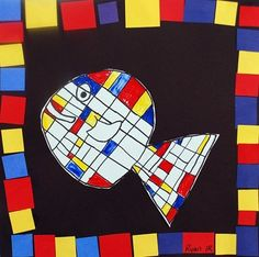 un poisson comme Mondrian Piet Mondrian, Kindergarten Art Lessons, Art Lessons Elementary, Classe D'art, Ecole Art, School Art Projects, Preschool Art, Fish Art, Art Lesson Plans