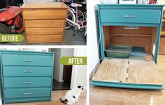 Repainted Shelf Litter Box Hideaway | 27 Useful DIY Solutions For Hiding The Litter Box