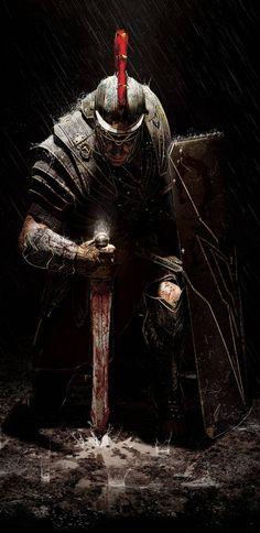 (Ryse Son of Rome) Cavaleiros e Templários Fantasy Warrior, Fantasy Art, Gott Tattoos, 3d Tattoos, Tattoo Ink, Sleeve Tattoos, Vikings, Knight Tattoo, Armor Tattoo