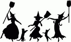 witches dancing silhouette | dancing witch silhouettes | Halloween | Pinterest
