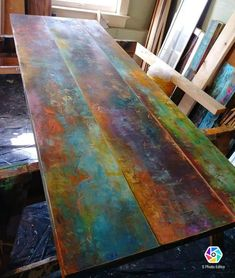 Custom coffee table colorful bronze copper and iron patina inspired rustic industrial pipe frame