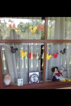 Window decorations I made for my sister. We put them in the window at our Walt Disney World resort (Coronado Springs) Just married / Wedding