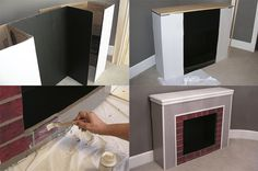 Christmas home decor: Falsch-fireplace made of cardboard Fake Fireplace, Christmas Fireplace, Farmhouse Christmas Decor, Christmas Home, Christmas Crafts, Christmas Decorations, Holiday Decor, Christmas Ideas, Home Projects