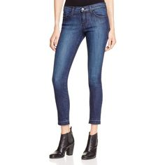 Flying Monkey Released Raw Hem Skinny Jeans in Dark Wash ($68) ❤ liked on Polyvore featuring jeans, dark wash, dark wash skinny jeans, flying monkey skinny jeans, skinny jeans, white denim skinny jeans and skinny leg jeans