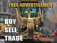 Used Heavy Construction Machinery and Equipment listings on ContractorAssets.com; find Dozers, Backhoes, Skid Steers, Road Graders, Compaction Equipment, Excavators and more. If you are in the market please come to our site to review the offerings or list your construction equipment for free. Equipment For Sale, Heavy Equipment, Used Construction Equipment, Concrete Tools, Buy Sell Trade, Tractors, Free