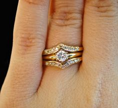 Vintage Diamond Engagement Wedding Ring Set - Solitaire Ring & Diamond Chevron Ring Guard