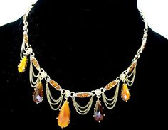 Vintage Bib Necklace Elaborate Amber Lucite by JennyFindsVintage, $51.00
