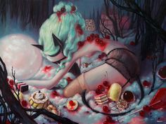 Once Upon A Quiet Kingdom: Brandi Milne's Beautiful Candy-coated Surreal World  #art #brandimilne #california #candy #cartoon #coreyhelford #disneyland #heartbreak #losangeles #love #painting #surrealism #toy