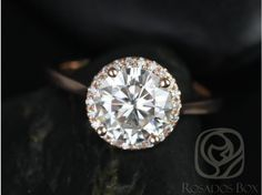 Rosados Box Shannon 8.50mm 14kt Rose Gold Round FB Moissanite and Diamonds Extra Low Halo Engagement Ring