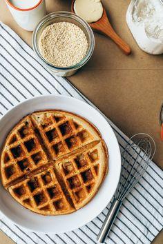 Honey Sesame Waffles w/ Blueberries | Faring Well #vegan #recipes