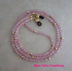 Rose quartz and gold eyeglass chain for reading glasses. Beaded Shoes, Beaded Jewelry, Beaded Necklace, Beaded Bracelets, Necklaces, Beaded Lanyards, Couple Bracelets, Eyeglass Holder, Necklace Designs