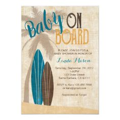 Surfboard Baby Shower Invitations - Featured at Retro Invites Fun summer theme for a beach baby shower or for the parents-to-be who love to surf! Surfer Baby Shower, Baby Shower Niño, Baby Shower Themes, Baby Shower Gifts, Shower Ideas, Beach Baby Showers, Deer Baby Showers, Custom Baby Shower Invitations, Baby Shower Invitation Cards