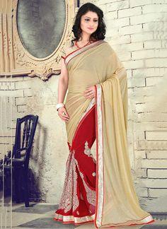 Modest Red Embroidered Work Lycra Classic Designer Saree