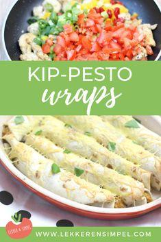 Kip-pesto wraps uit de oven - Lekker en Simpel - Healty fitness home cleaning Quick Recipes, Cooking Recipes, Healthy Recipes, Healthy Cooking, Healthy Foods, Healthy Life, Healthy Living, Gluten Free Puff Pastry, Taco