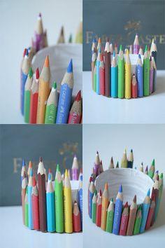Stiftebecher - Blechdose,weisse Farbe und Heisskleber