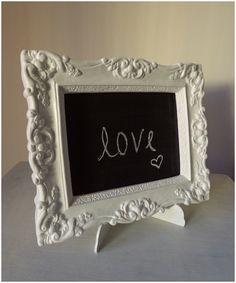 Marco vintage con pizarrón para un casamiento-  Chalkboard with vintage frame I made for a wedding