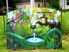 Garden mural on fence boards. I love this it is so awesome. and would look good in the back yard!!!!!!!!!!!