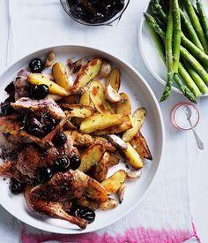 Roast duck with cherries and roast kipfler potatoes - Gourmet Traveller