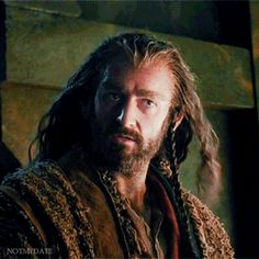 Thorin with his sword at Bilbo