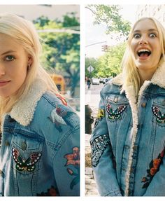 Carlotta Kohl in a Gucci embroidered denim jacket