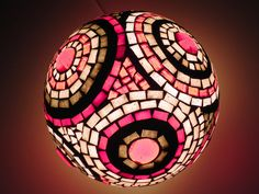 Red circles of light, mosaic table lamp, one of a kind home decor