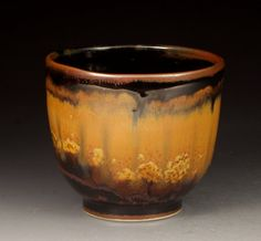 Handmade Ceramics - Temmoku Cup with Crystalline Glaze Design made by Evan Speegle