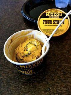 Tiger Stripe ice cream at Bucks's - University of Missouri, Columbia Missouri Tigers, Tiger Stripes, College Fun, Football Food, Sweet Tooth, Sweet Treats, Ice Cream, My Favorite Things, Tailgating