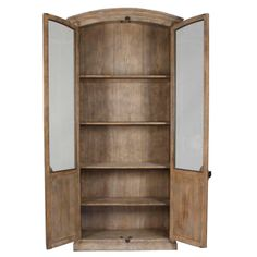 This elegantly aged arched cabinet features glass-front doors and four inner shelves. A lightly distressed finish showcases all the lovely wood grains, while antiqued hardware completes the look. Shop Provence display cabinets now. Oak Cupboard, Layla Grayce, Glass Front Door, Weathered Oak, Antique Hardware, Wood Display, Oak Cabinets, Bookcase, Shelves