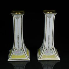 Pair Signed Royal Epiag Czech Tall Easter Pastels Candle Holders Hand Painted