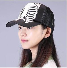 Personalized skeleton baseball cap for women adjustable trucker caps