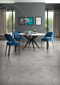 Cool and trendy dining room idea, featuring curved floor lamp and slate effect floor tiles. Curved Floor Lamp, Tall Floor Lamps, Unique Floor Lamps, Contemporary Floor Lamps, Black Floor Lamp, Grey Floor Tiles, Grey Flooring, Room Tiles Design, Home Living