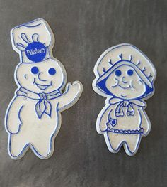 Vtg Pair of Pillsbury Refrigerator Magnets Dough Boy and Girl Doughboy HeeHeeHee #Pillsbury