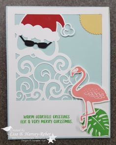 Tropical Santa ;-) Great combination with the Detailed Santa Thinlits and the Pop of Paradise stamp set!