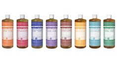 18 Uses for Dr. Bronner's Soaps! Dr Bronners Liquid Soaps: dishwasher and dish liquid hand soap body Liquid Castile Soap, Liquid Hand Soap, Organic Makeup, Natural Makeup, Natural Beauty, Bronners Soap, Makeup Brush Cleaner, Best Soap, Lavender