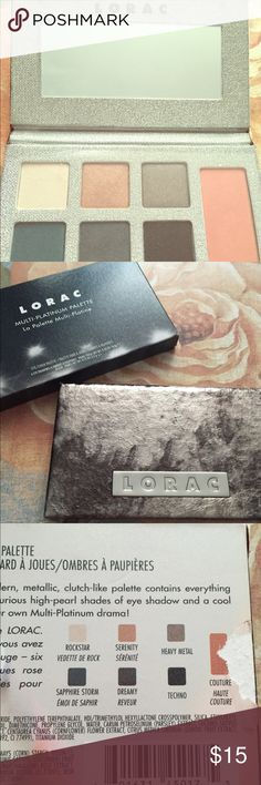 LORAC Multi-Platinum Eye/Cheek Palette-NIB This palette is brand new in box, never used! Six beautiful shadows that can be used wet or dry and one blush. Box has been opened but pallete never swatched, colors are beatific and Lorac has amazing quality shadows. I have way too many palettes in my collection to use them all 😊 Smoke free/pet free home and I'm happy to bundle for discount ❤️ Makeup Eyeshadow