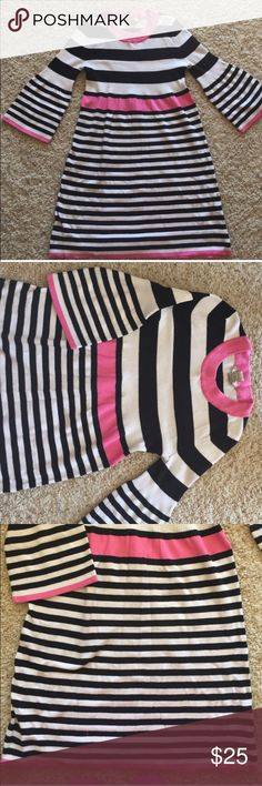 BLACK/PINK/WHITE STRIPES DRESS Black, White and Pink Arizona Dress. Perfect conditions. Fabric: Cotton, Stretches. This is nice for fall and winter with leggins and boots. ❌No flaws❌ 🚫No trades, No returns🚫 ✔️SHIPPING NEXT DAY✔️💋ALL OFFERS ARE WELCOME💋 item#12 Arizona Jean Company Dresses Midi