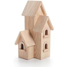 Darice 9166-54 Natural Wood Birdhouse Manhatton, 12-Inch