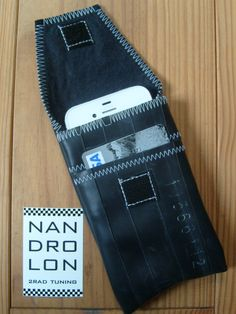 iPhone Case made from recycled bike tube, with credit card slot, black