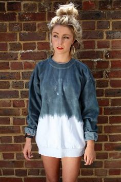 Super cute sweat shirt for comfy days! Urban outfitters renewal dip dye tie dye sweatshirt jumper 10 in Clothes, Shoes & Accessories, Women's Clothing, Jumpers & Cardigans Urban Fashion, Diy Fashion, Fashion Kids, Fashion Outfits, Fashion Trends, Looks Style, Style Me, Grunge, Rocker