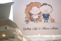 Esküvői meghívó rajzolt portréval Place Cards, Place Card Holders
