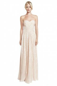 Erin Fetherston Shirred Strapless Metallic Gown in Champagne / Gold/ Blush -$550