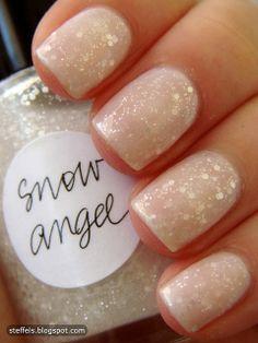 White on white glitter polish
