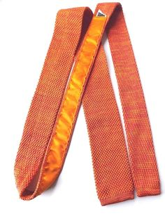 MARKS and SPENCER Skinny Knitted Neck Tie Orange Yellow Weave FABULOUS! FREE P&P #MarksandSpencer #Tie