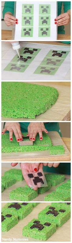 Minecraft Creeper Rise Krispy Treats. Im making this for Justin's Birthday.