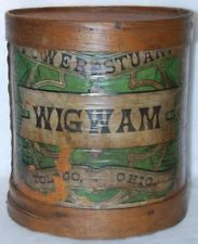 """PRIMITIVE ANTIQUE COUNTRY STORE FIRKIN ADVERTISING WIGWAM 13"""" TALL *AMAZING*"""