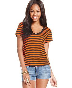Eyeshadow Juniors' Striped Swing Tee - Juniors Tops - Macy's