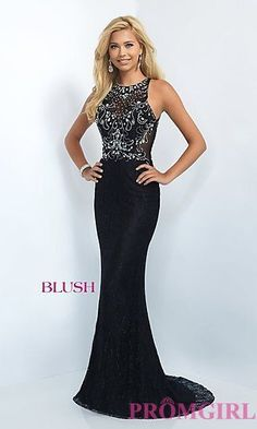 Illusion Back Floor Length Lace Blush Prom Dress at PromGirl.com