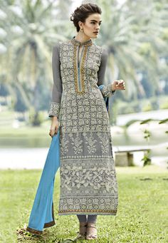 Embroidered Georgette Pakistani Style Suit in Grey